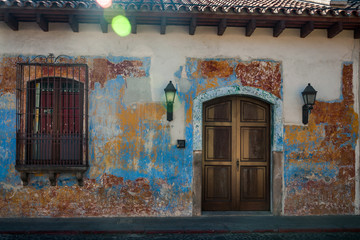 A burst of sunshine in front of a heritage colonial house in Antigua, Guatemala.