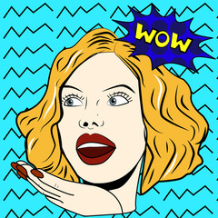 Woman says Wow woman. Surprised woman. Pop art girl.