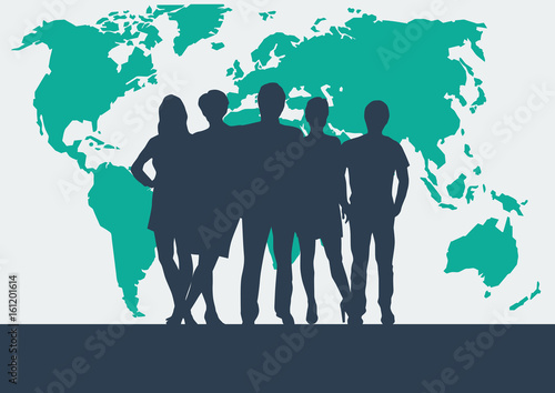 People on world map vector poster and background teamwork and people on world map vector poster and background teamwork and business concept gumiabroncs Images