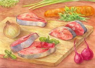 Still-life with watercolor. Cut red fish on a cutting board. Drawing from the hands of vegetables and pink salmon.