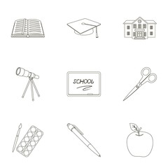 Set of pictures about the school. Study training. Supplies for school.Outfit of the student. School and eduacation icon in set collection on outline style vector symbol stock illustration.