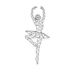 Ballerina stylized triangle polygonal model