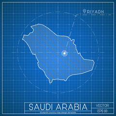 Saudi arabia map photos royalty free images graphics vectors saudi arabia blueprint map template with capital city riyadh marked on blueprint saudi arabian map malvernweather Gallery