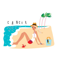 Young beautiful woman sitting on the beach. Cancer Girl horoscope sign. Vector illustration.