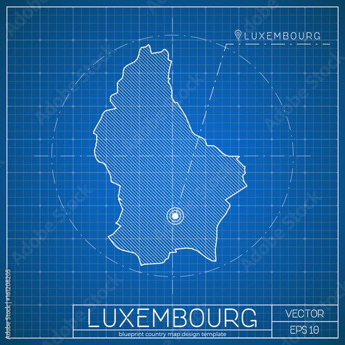 Luxembourg blueprint map template with capital city luxembourg luxembourg blueprint map template with capital city luxembourg marked on blueprint luxembourger map vector malvernweather Images