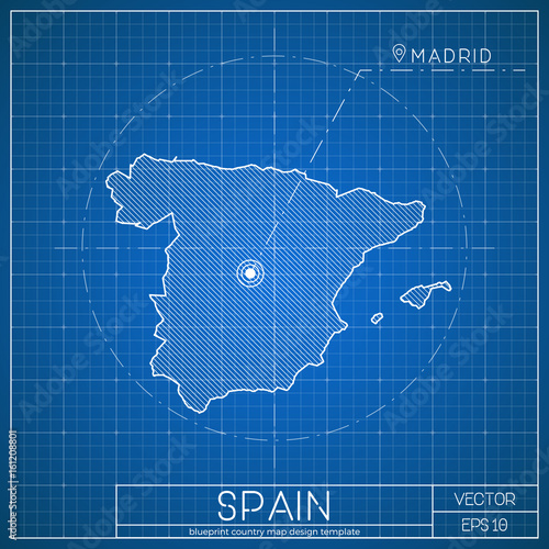 Spain blueprint map template with capital city madrid marked on spain blueprint map template with capital city madrid marked on blueprint spanish map vector malvernweather