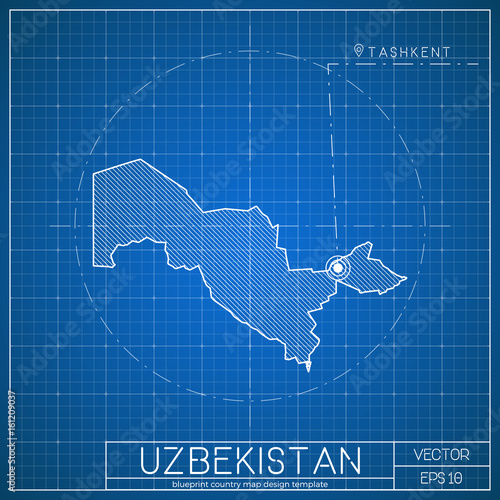 Uzbekistan blueprint map template with capital city tashkent marked uzbekistan blueprint map template with capital city tashkent marked on blueprint uzbekistani map vector malvernweather Images