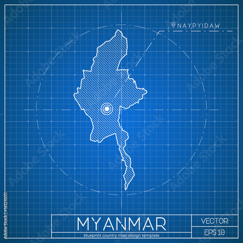 Myanmar blueprint map template with capital city naypyitaw marked myanmar blueprint map template with capital city naypyitaw marked on blueprint myanmarian map vector malvernweather Images