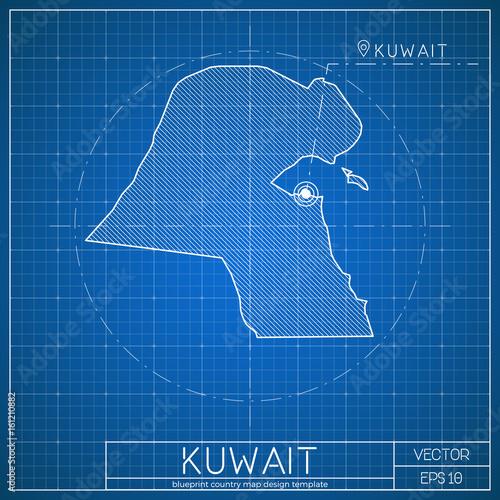 Kuwait blueprint map template with capital city  Kuwait City