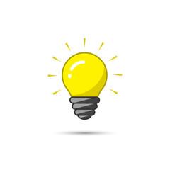 Light bulb icon on white background. Vector illustration. Idea symbol.
