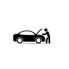 Repairman near the car icon. Car repair service icon. Vector.