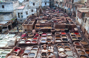Tannery souk in Fez, Morocco, North Africa