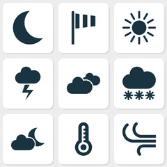 Climate Icons Set. Collection Of Snowy, Breeze, Weather And Other Elements. Also Includes Symbols Such As Breeze, Hate, Sunny.