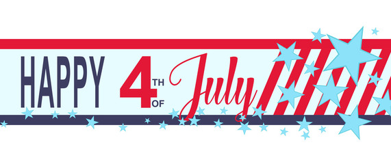 Vector Happy 4h of July banner with stars and stripes. USA Independence Day decoration.