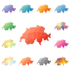 Switzerland geometric polygonal, mosaic style maps collection. Bright abstract tessellation, low poly style, modern design. Switzerland polygonal maps for your infographics or presentation.