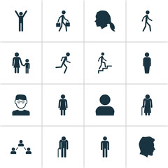 Human Icons Set. Collection Of Happy, Network, User And Other Elements. Also Includes Symbols Such As User, Old, Female.