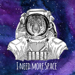 Animal astronaut Wild cat Leopard Cat-o'-mountain Panther wearing space suit Galaxy space background with stars and nebula Watercolor galaxy background