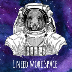 Animal astronaut Aper, boar, hog, hog, wild boar wearing space suit Galaxy space background with stars and nebula Watercolor galaxy background