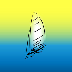 Image of a yacht with black brush strokes on a gradient background
