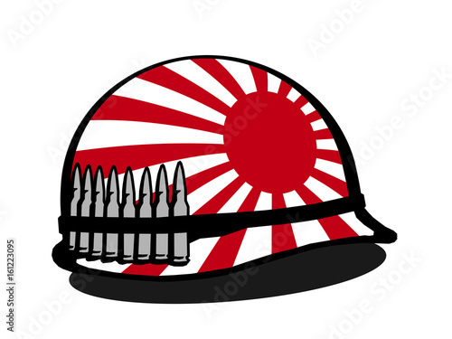 Helmet With Japanese War Flag And Bullet Militarization And