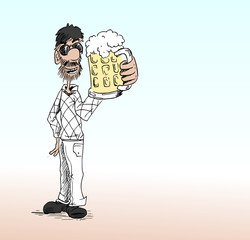 Man in net vest drinkt een grote pul bier