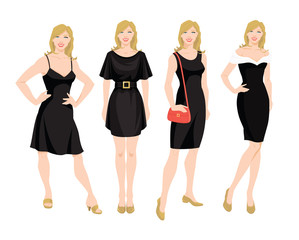 Vector illustration of young women in different models of little black dress. Blondy girl in different pose on white background