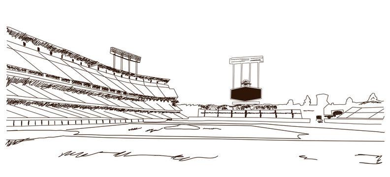 Sketch of Baseball stadium in vector illustration.