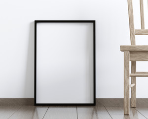 Mockup of a blank frame poster on the floor, 3D rendering
