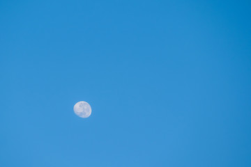 The moon on blue sky