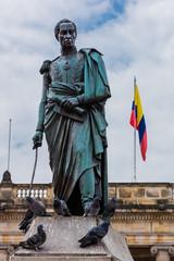 Poster South America Country Bolivar plaza in La Candelaria aera Bogota capital city of Colombia South America