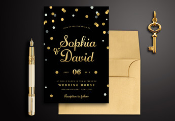 Black & Gold Wedding Invitation