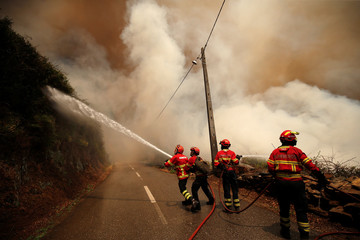 Firefighters work to put out a forest fire in the village of Sandinha