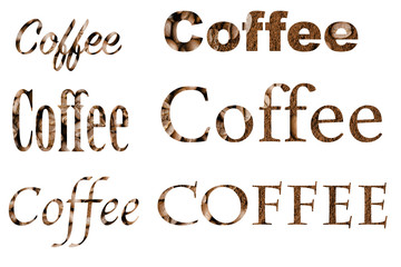 Spelling the word coffee by coffee beans on white background