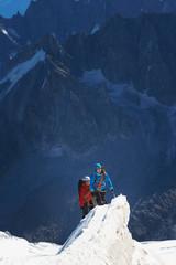 Mountaineers on mountain, Chamonix, Haute Savoie, France