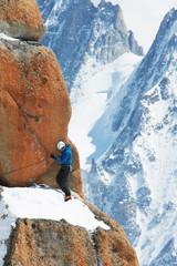 Mature man mountain climbing, Chamonix, France