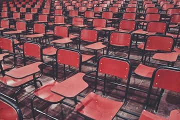 Full Frame Shot Of Red Chairs In Stadium