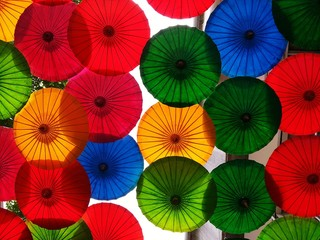Full Frame Shot Of Multi Colored Umbrellas On Wall