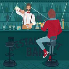 Young trendy guy sits at the bar counter and drinking cocktail. Funny hipster bartender with a bow tie prepares another drink. The rest after the working day concept