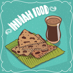 Traditional food, dish of Indian cuisine, pieces of flatbread Roti, Naan, Chapati, Papadum or Paratha, on banana leaf plate and masala chai tea. Hand drawn comic style