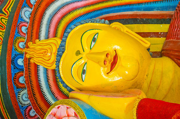 The face of Reclining Buddha