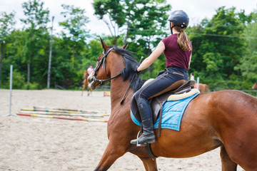 Horse rider is training in the arena