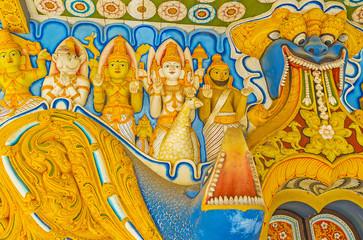 Reliefs of Hindu deities in Pamunuwa Buddhist Temple