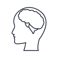 silhuette human head man with brain thinking vector illustration
