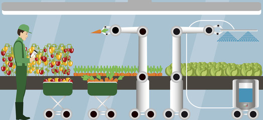Wall Mural - Internet of things in agriculture. Smart farm with robots. Vector illustration.