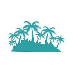 tropical island with tree palm landscape silhouette vector illustration