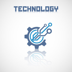 Abstract technology logo with reflect. Electronics icon.