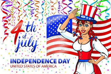 illustration of a girl celebrating Independence Day Vector Poster. 4th of July Lettering. American Red Flag on Blue Background with Stars confetti