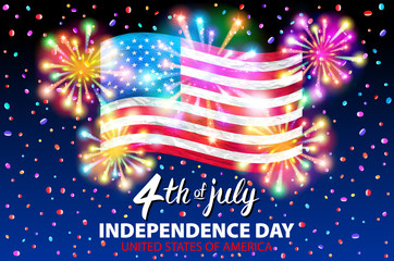 illustration of a celebrating Independence Day Vector Poster. 4th of July Lettering. American Red Flag on Blue Background with Stars burst. firework