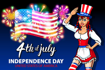 illustration of a girl celebrating Independence Day Vector Poster. 4th of July Lettering. American Red Flag on Blue Background with Stars burst. firework