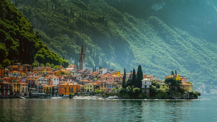Town of Varenna town at Lake como,Italy. scenic landscapes of Lago di Como - Cadenabbia, Italy